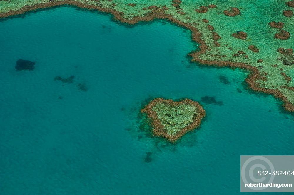 Aerial view, Heart Reef, Great Barrier Reef, UNESCO World Heritage Site, Queensland, Australia, Oceania