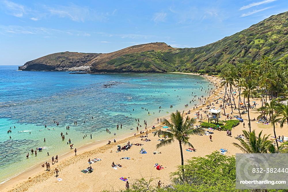 Beach, Hanauma Bay, Oahu, Hawaii, United States, North America