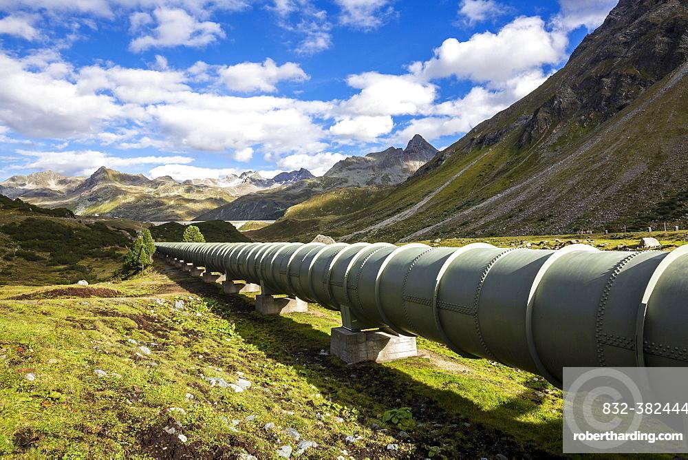 Water pipeline, Silvretta-Stausee reservoir, Bielerhohe Pass, Vorarlberg Montafon, Austria, Europe