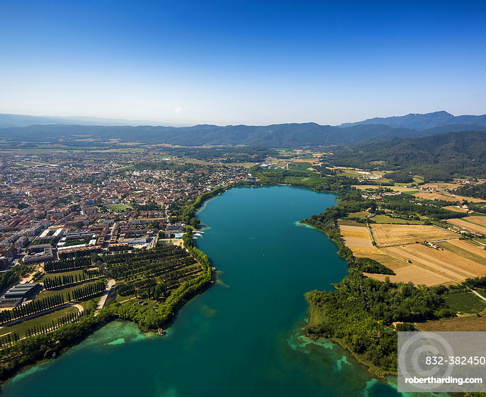 Aerial view, view of the city of Banyoles on the Lake of Banyoles, Costa Brava, Catalonia, Spain, Europe