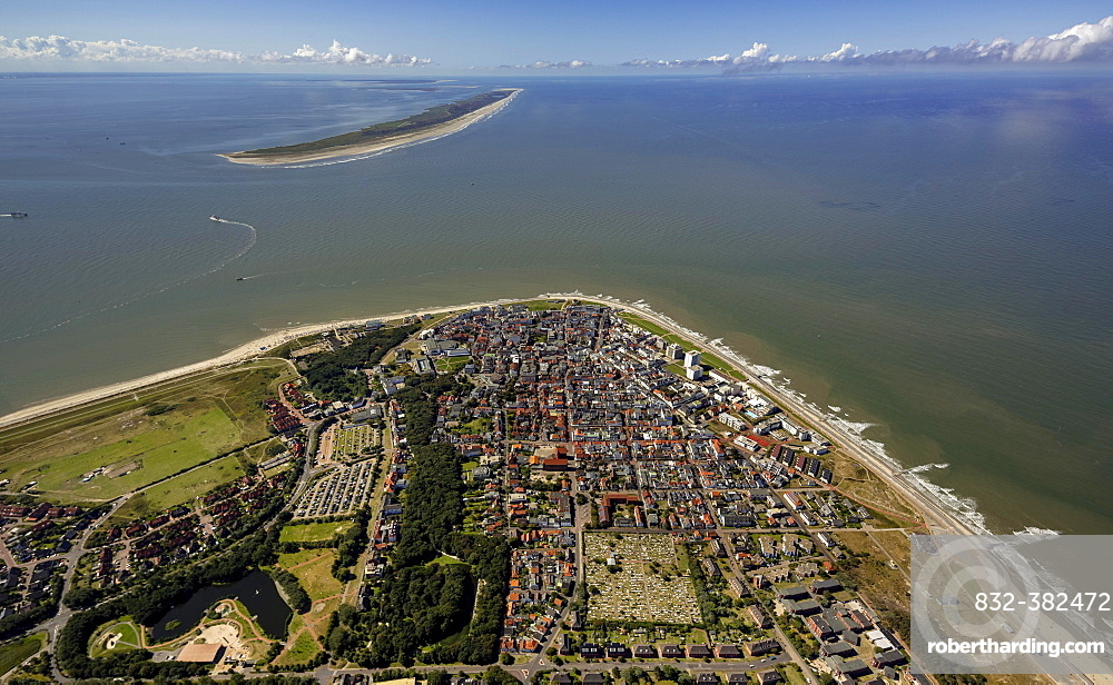 Aerial view, town of Norderney, western part of the island, Wadden Sea, Norderney, island in the North Sea, East Frisian Islands, Lower Saxony, Germany, Europe