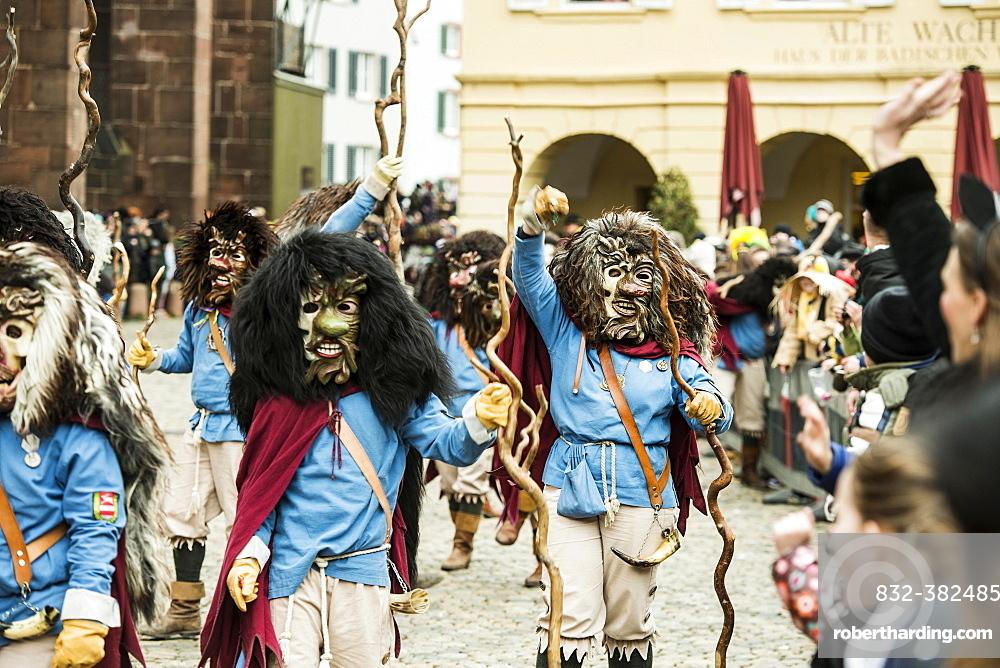 Carnival parade on Carnival Monday, Freiburg im Breisgau, Black Forest, Baden-Wurttemberg, Germany, Europe