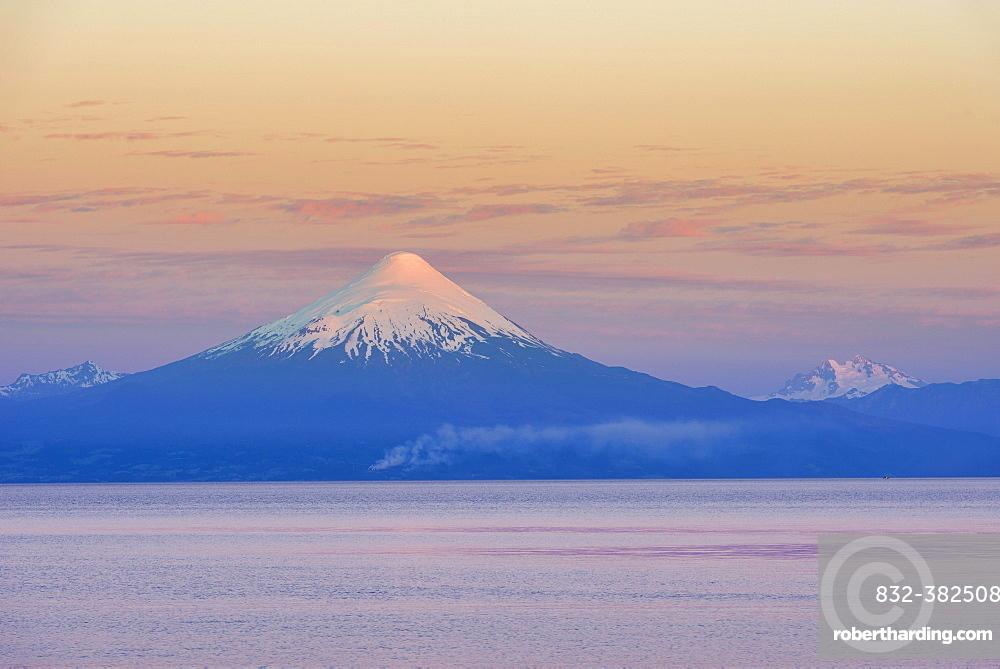 Osorno volcano in the evening light, Frutillar, Los Lagos Region, Chile, South America