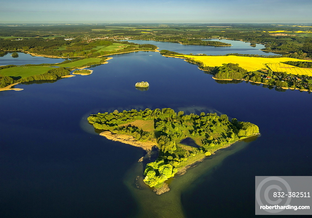 Krakower Seenlandschaft with Liepse Island, lakeland nature reserve, Kuchelmiss, Mecklenburg Lake District, Mecklenburg-Western Pomerania, Germany, Europe