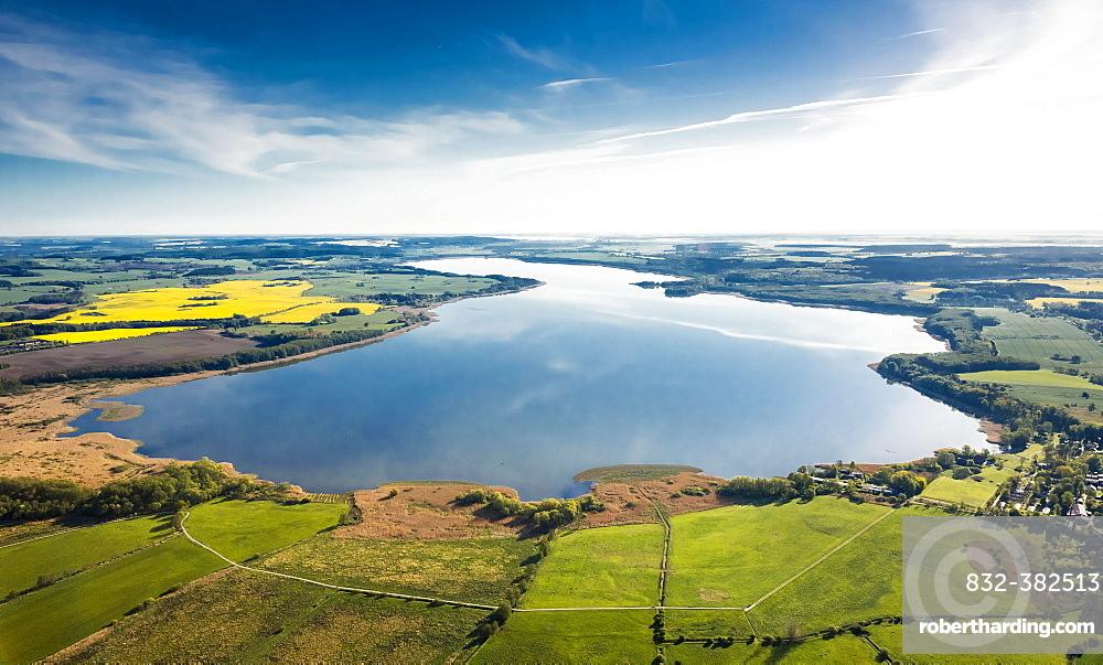 Aerial view, Malchiner See lake, near Dahmen, Dahmen, Mecklenburg Lake District, Mecklenburg-Western Pomerania, Germany, Europe