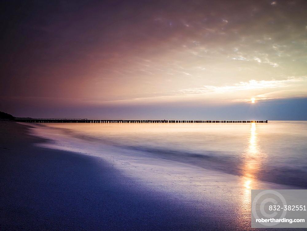 Sunset on the beach of Ahrenshoop, Fischland, Mecklenburg-Western Pomerania, Germany, Europe
