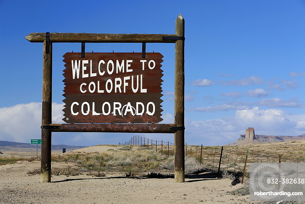Welcome to Colorado, sign at Highway 491, Colorado, New Mexico, United States, North America