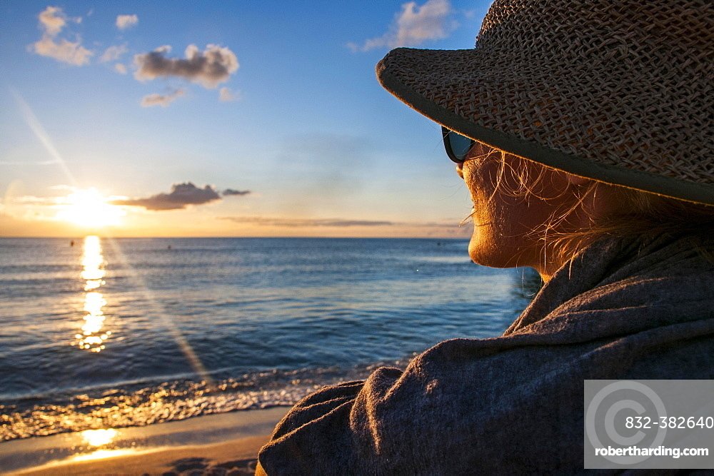 Woman watching the sunset, Guam, US Territory, Central Pacific, Oceania