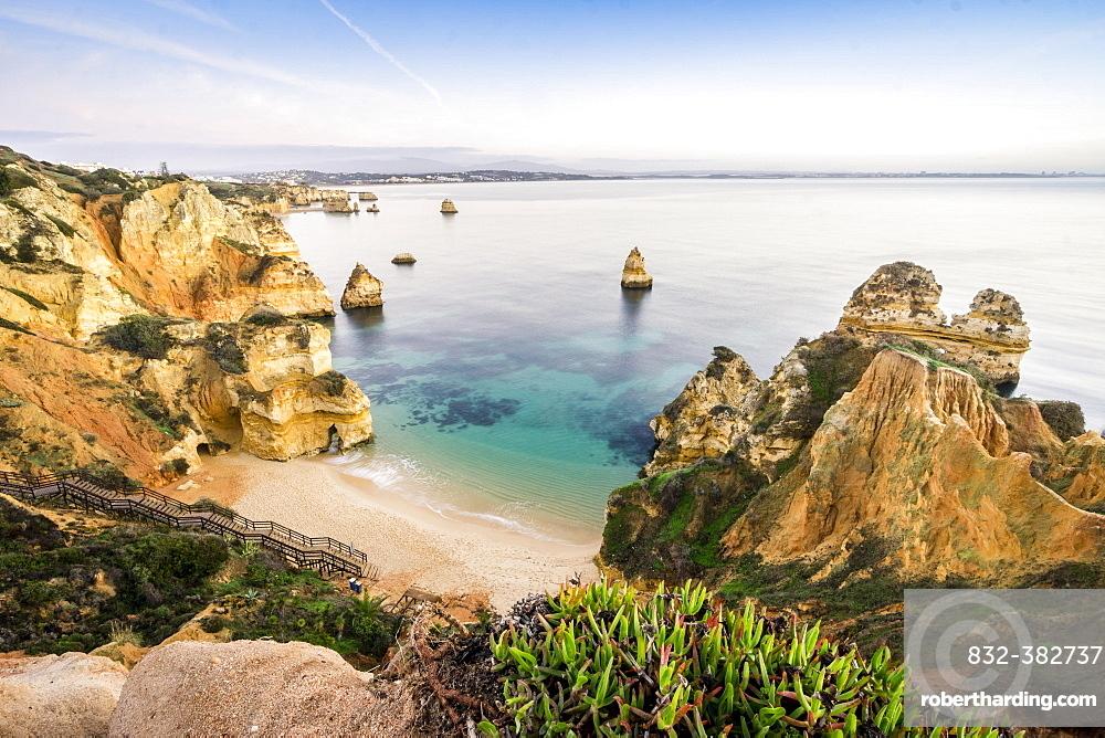 Camilo Beach with cliffs, Lagos, Algarve, Portugal, Europe