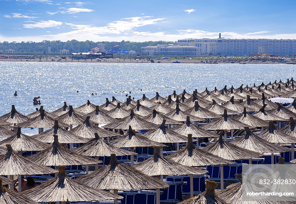 Reed umbrellas, beach in Velipoja, Velipoje, Adriatic Sea, Qark Shkodra, Albania, Europe