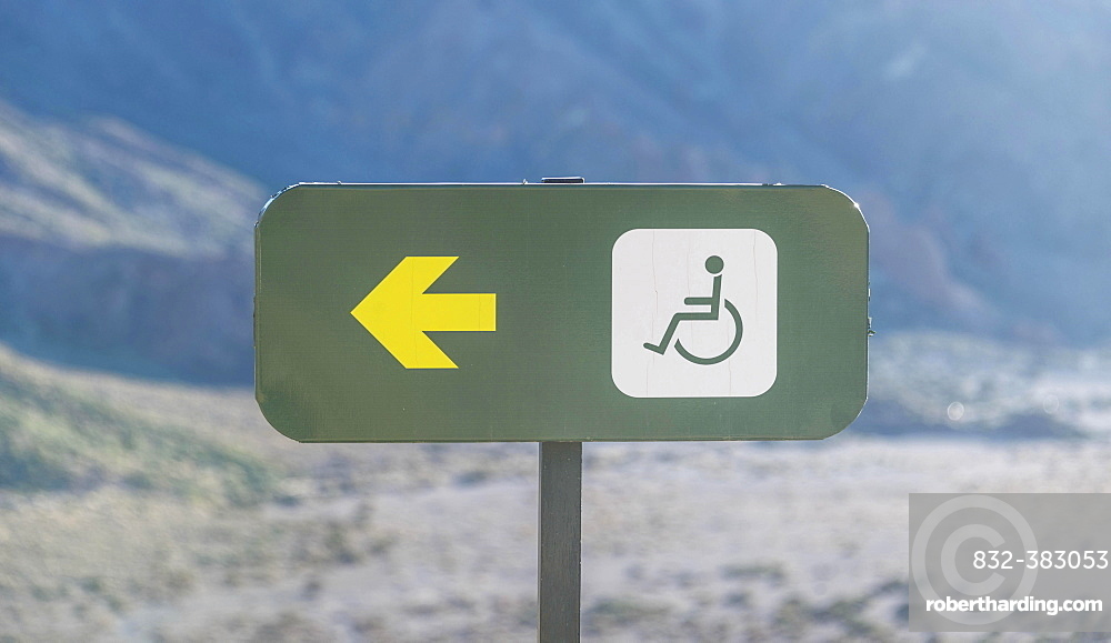 Sign, handicapped accessible path, Tenerife, Canary Islands, Spain, Europe