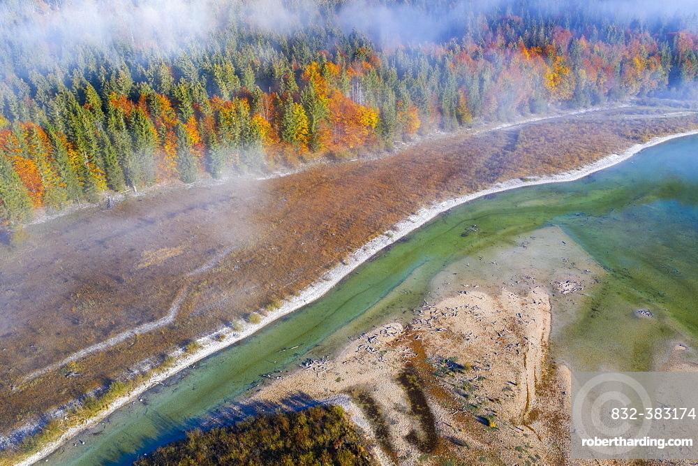 Isar, at the inflow into the Sylvenstein lake, Sylvenstein reservoir, drone image, Lenggries, Isarwinkel, Upper Bavaria, Bavaria, Germany, Europe