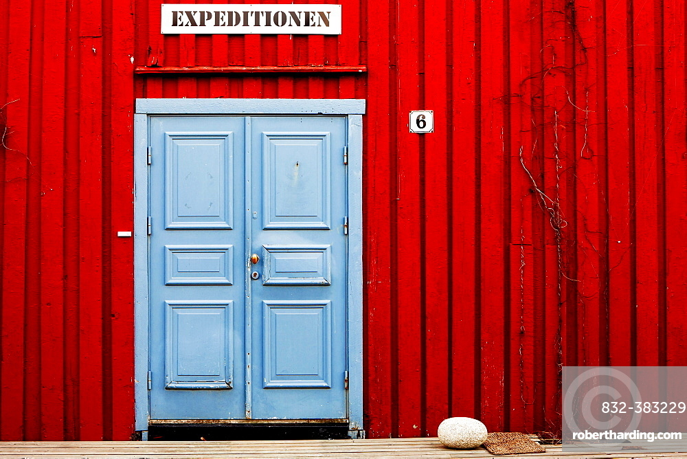 Entrance to a tour operator's office for expeditions, near Henningsvaer, Lofoten, Norway, Europe