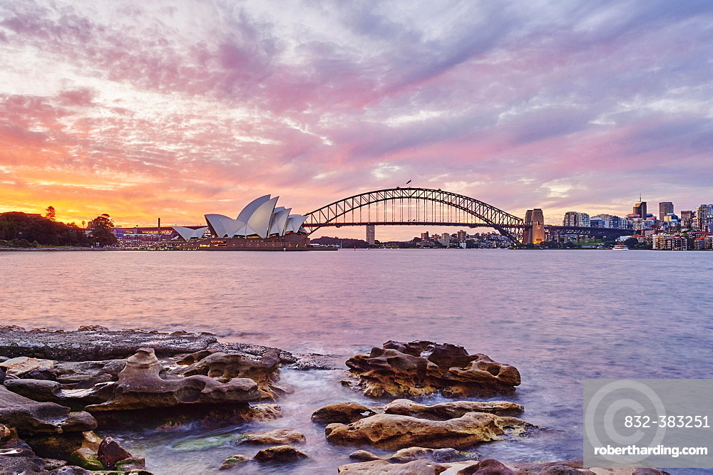 Sydney Opera House with the Sydney Harbor Bridge and skyscrapers, dusk, Sydney, New South Wales, Australia, Oceania