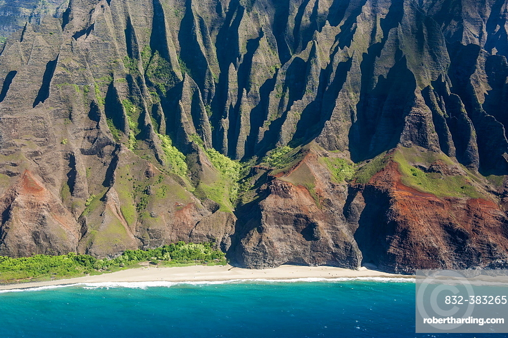 Aerial of the rugged Na Pali Coast, Kauai, Hawaii, USA, North America