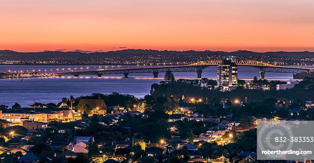 Harbour Bridge at dusk, Devonport, Auckland, North Island, New Zealand, Oceania