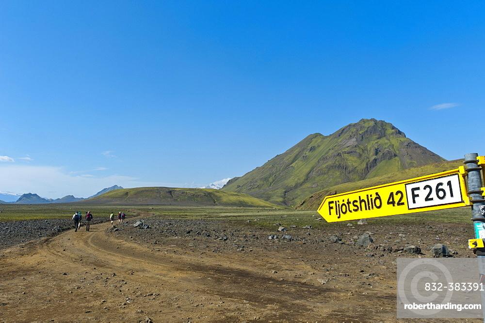 Wild gravel road with a traffic sign to Fljotshlio, Laugavegur trekking route, near Hvanngil, Highlands, Suourland, Iceland, Europe
