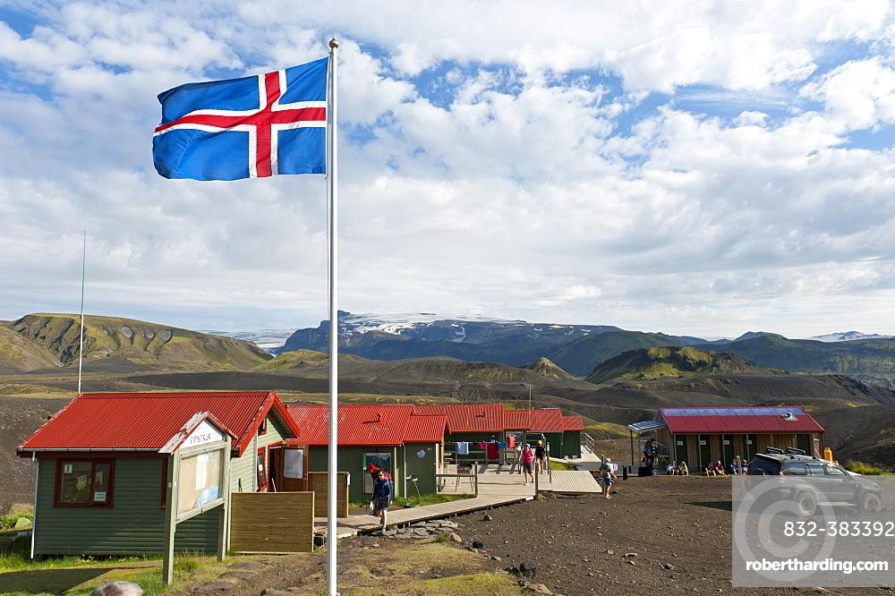 Icelandic National Flag, Emstrur - Botnar Hut at the Laugavegur hiking trail, Rangarping ytra, Iceland, Scandinavia, Europe