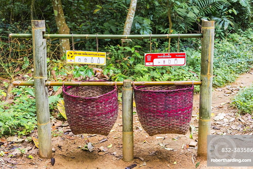 Baskets for rubbish, trashbin, waste separation, indeed Kuang Si waterfalls, Luang Prabang, Luang Prabang Province, Laos, Asia