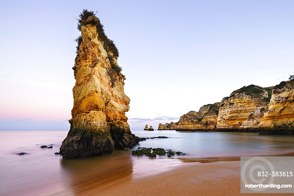 Dusk at the beach Praia da Dona Ana, Lagos, Algarve, Portugal, Europe