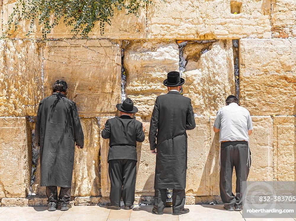 Praying Orthodox Jews at the Wailing Wall, Jerusalem, Israel, Asia