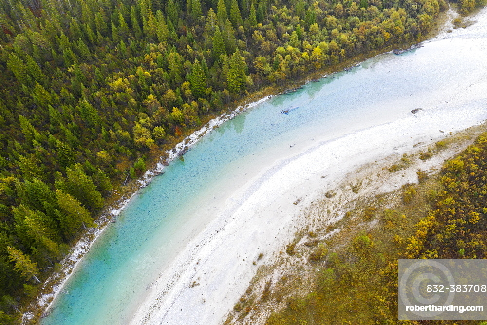 Isar, near Sylvenstein Dam, drone view, Isarwinkel, Upper Bavaria, Bavaria, Germany, Europe
