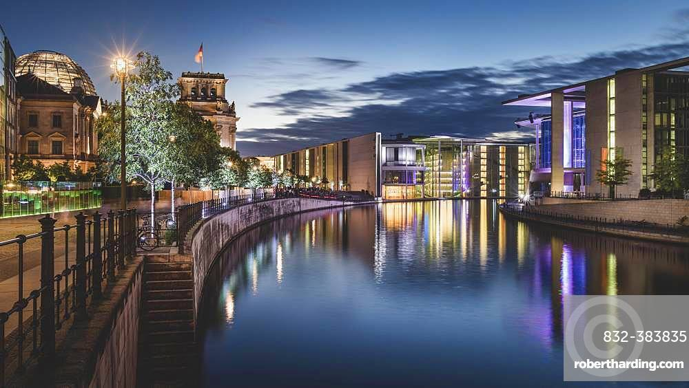 Reichstag banks and government district, Berlin, Germany, Europe