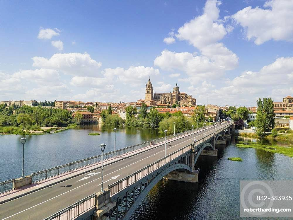 Cityscape of Salamanca with bridge over Tormes river and cathedral, Spain, Europe