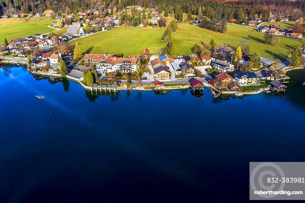 Drone shot, Kochel am See, Walchensee, Upper Bavaria, Bavaria, Germany, Europe