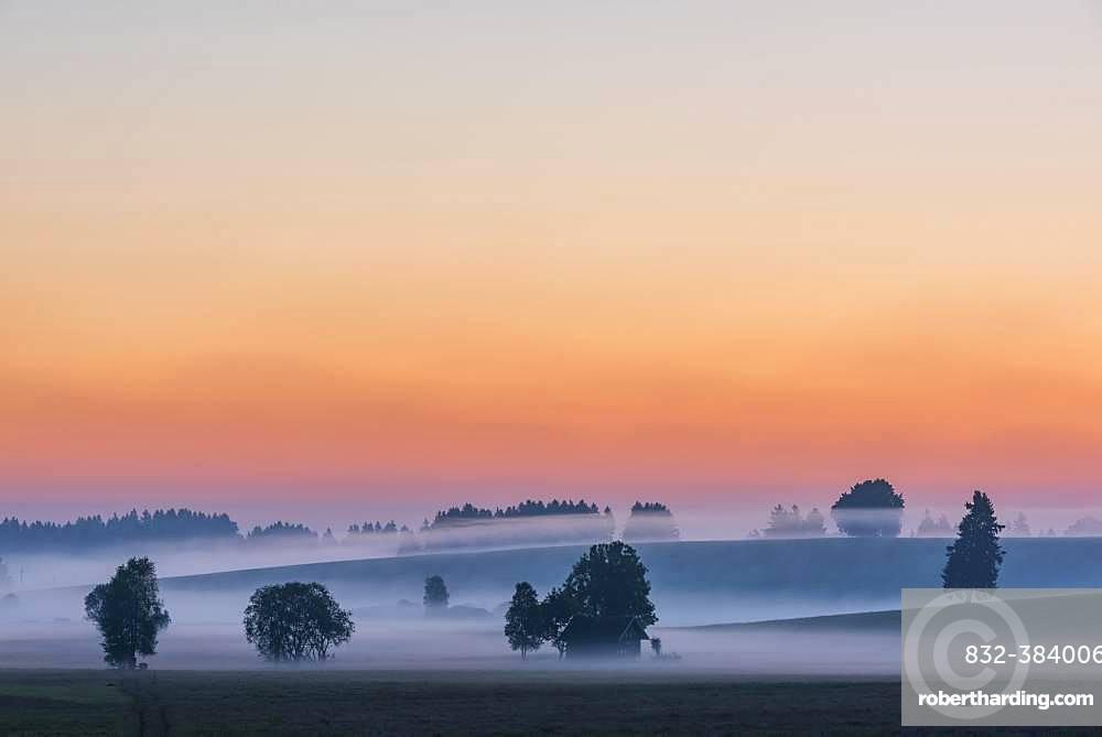 Sunrise with ground fog over Allgaeu hills, Fuessen, Allgaeu, Bavaria, Germany, Europe