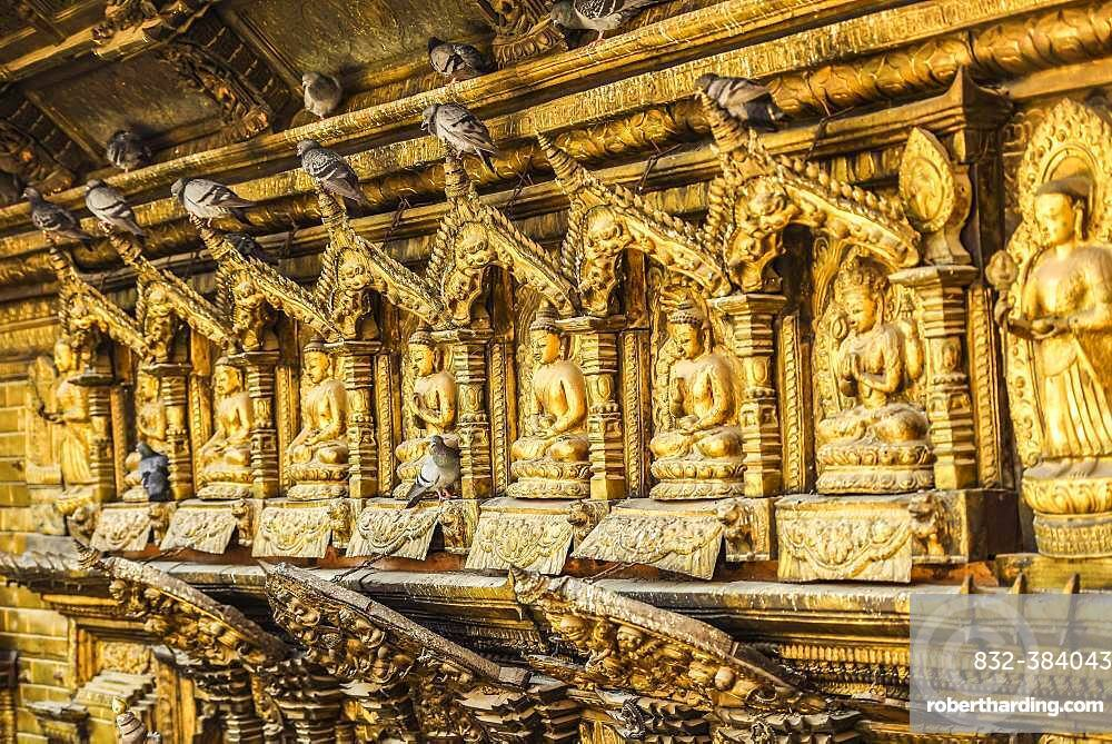 Buddha Statues, Doves, Golden Temple, Patan, Kathmandu Valley, Himalaya Region, Nepal, Asia