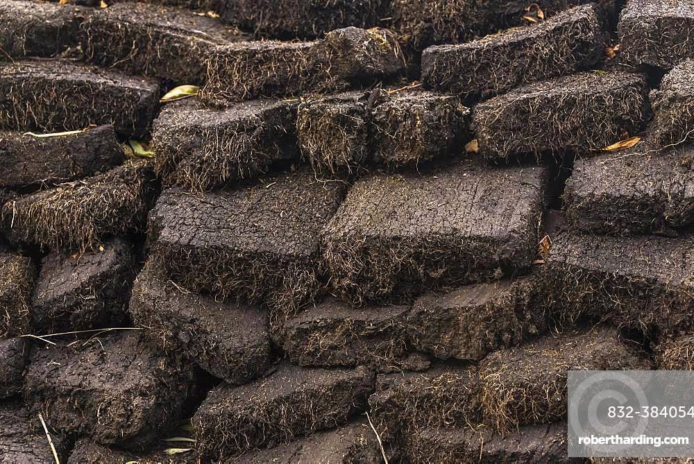 Stacked cut peat in raised bog, Durness, Scottish Highlands, Scotland, Great Britain