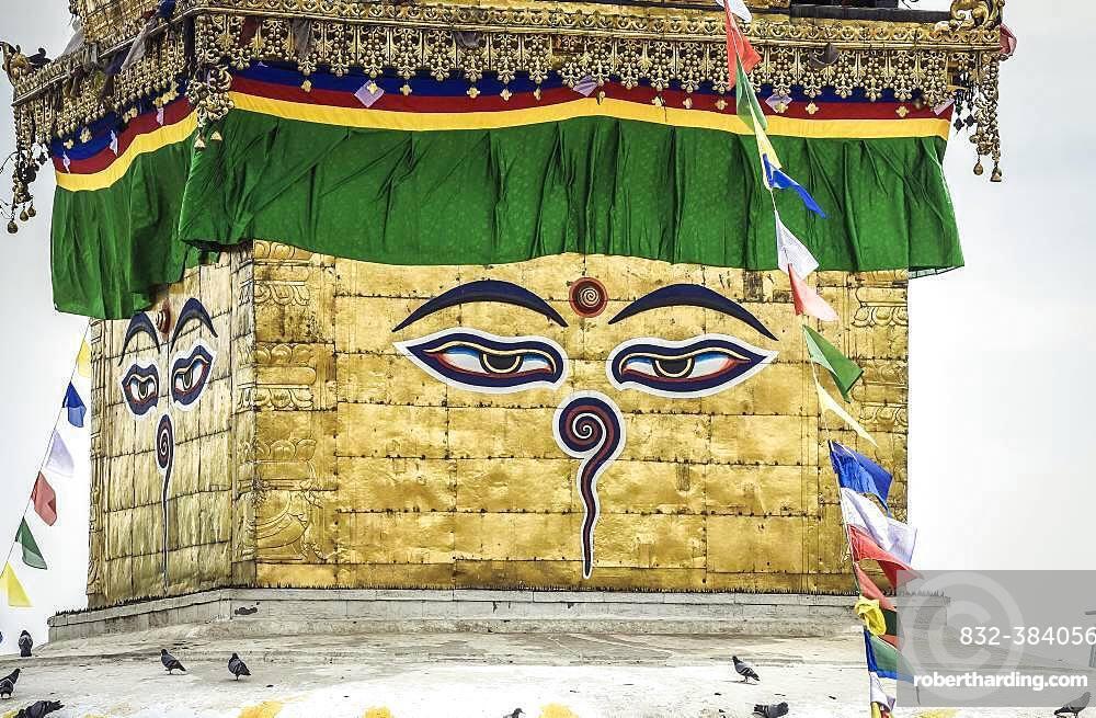 The eyes of Buddha on Stupa, Monkey Temple Swayambhunath, Kathmandu, Nepal, Asia