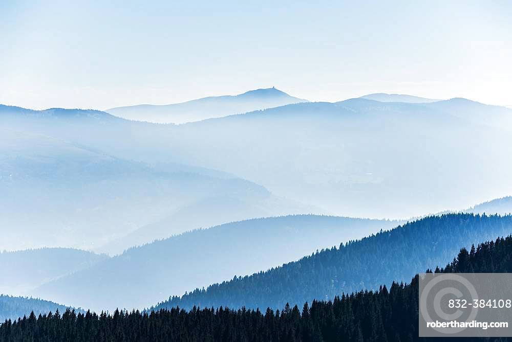 Staggered mountain ranges in the haze, am Hohneck, Col de la Schlucht, Vosges, Alsace-Lorraine, France, Europe