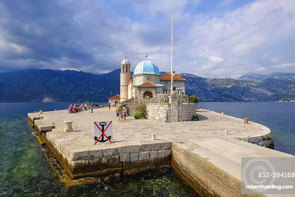 Pilgrimage church on the island of Maria of the Rock, Gospa od Skrpjela, Bay of Kotor, Province of Kotor, Montenegro, Europe