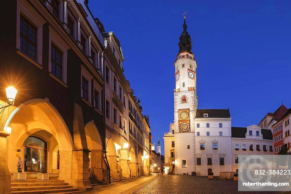 Old town hall at the Untermarkt at dusk, Goerlitz, Saxony, Germany, Europe
