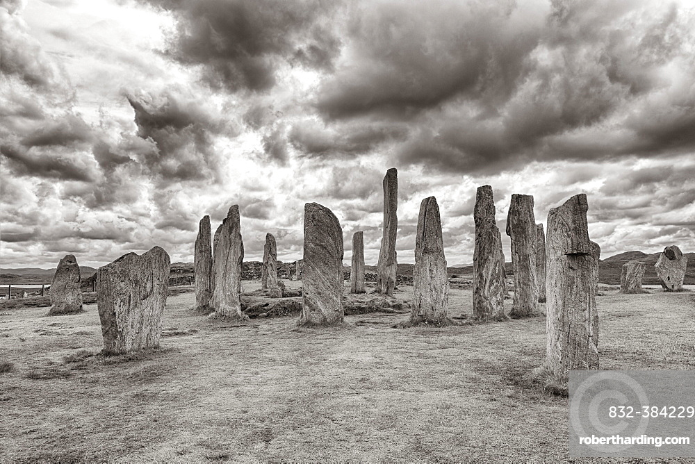 Megalith Stone Formation Callanish Standing Stones, Stone Circle under a Cloudy Sky, Lewis and Harris Island, Outer Hebrides, Scotland, United Kingdom, Europe