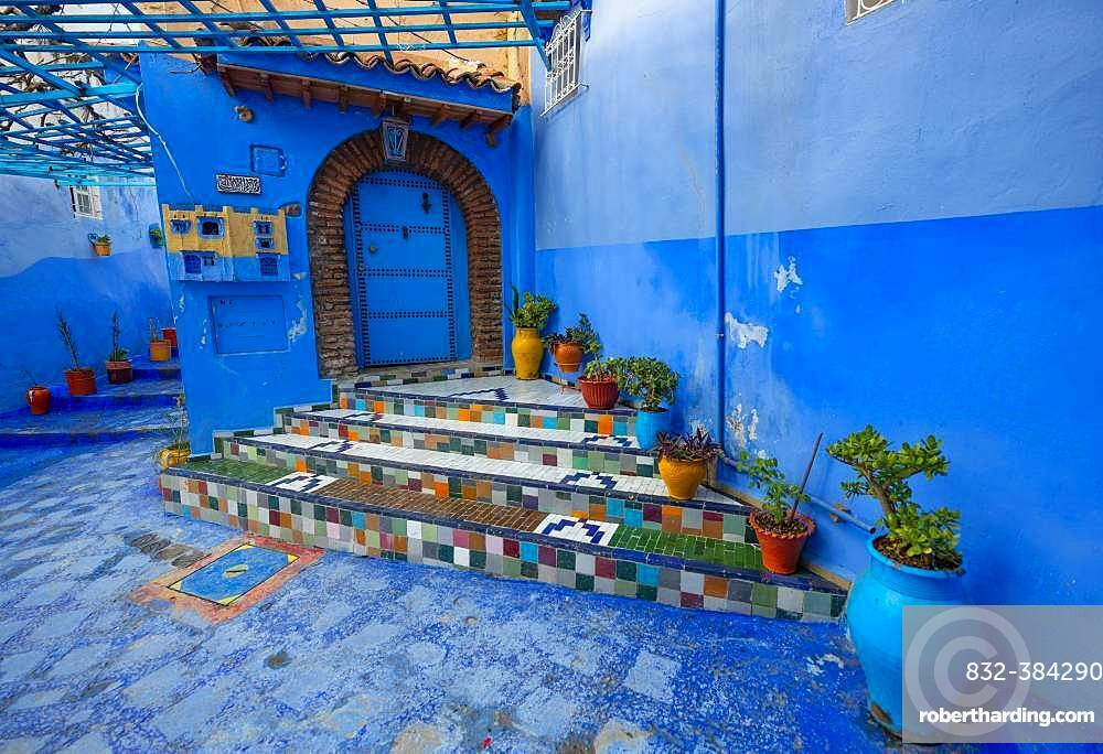 Colorfully tiled staircase with flower pots, blue entrance door, narrow alley, medina of Chefchaouen, Chaouen, Tanger-Tetouan, Morocco, Africa