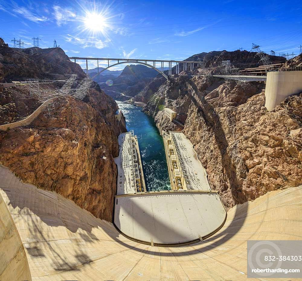 View of the Hoover Dam Bypass Bridge and Dam from the Hoover Dam, Hoover Dam, Dam, near Las Vegas, Colorado River, Lake Mead, Boulder City, former Junction City, Arizona Border, Nevada, USA border