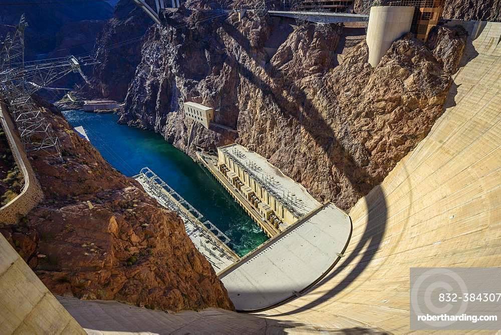 Dam of the Hoover Dam, Hoover Dam, Dam, near Las Vegas, Colorado River, Boulder City, formerly Junction City, Arizona border, Nevada, USA, North America