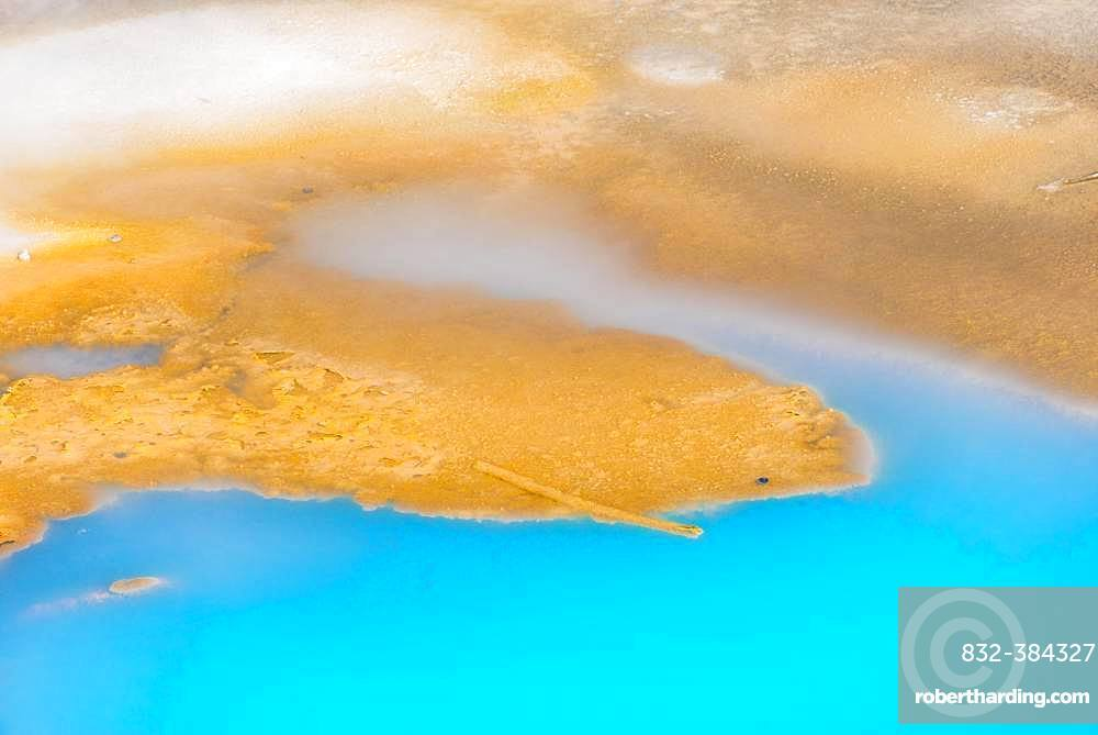 Abstract detail, hot springs, colorful mineral deposits in Porcelain Basin, Noris Geyser Basin, Yellowstone National Park, Wyoming, USA, North America