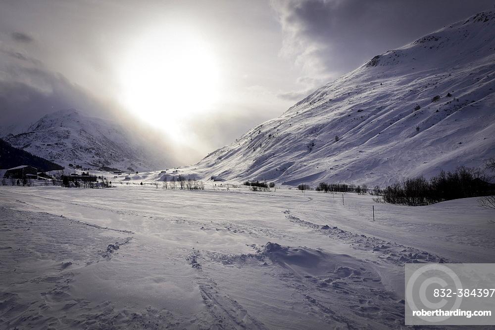 Snowy mountain landscape in winter, Andermatt, Switzerland, Europe