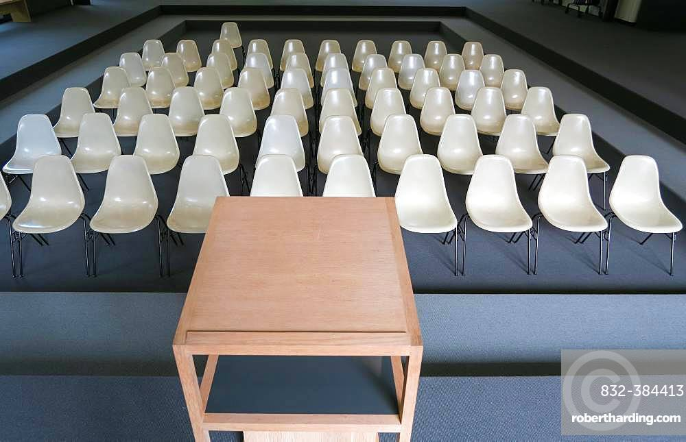 Empty chairs with desk in an auditorium, Germany, Europe