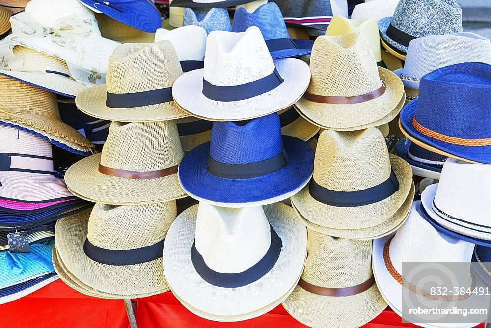 Sun hats for Sale, Tuscany, Italy, Europe