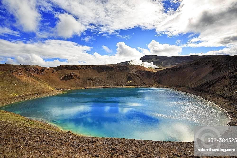 Volcanic lake, crater lake Viti at the central volcano Krafla, Myvatn, North Iceland, Iceland, Europe