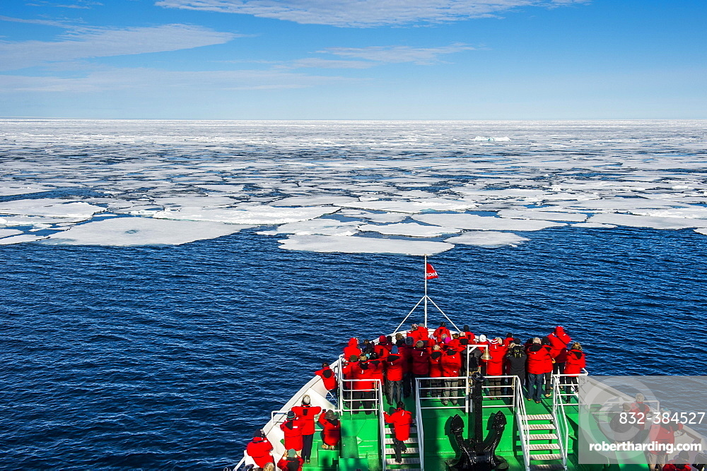 expedition ship in front of the pack ice, Arctic, Svalbard, Norway, Europe