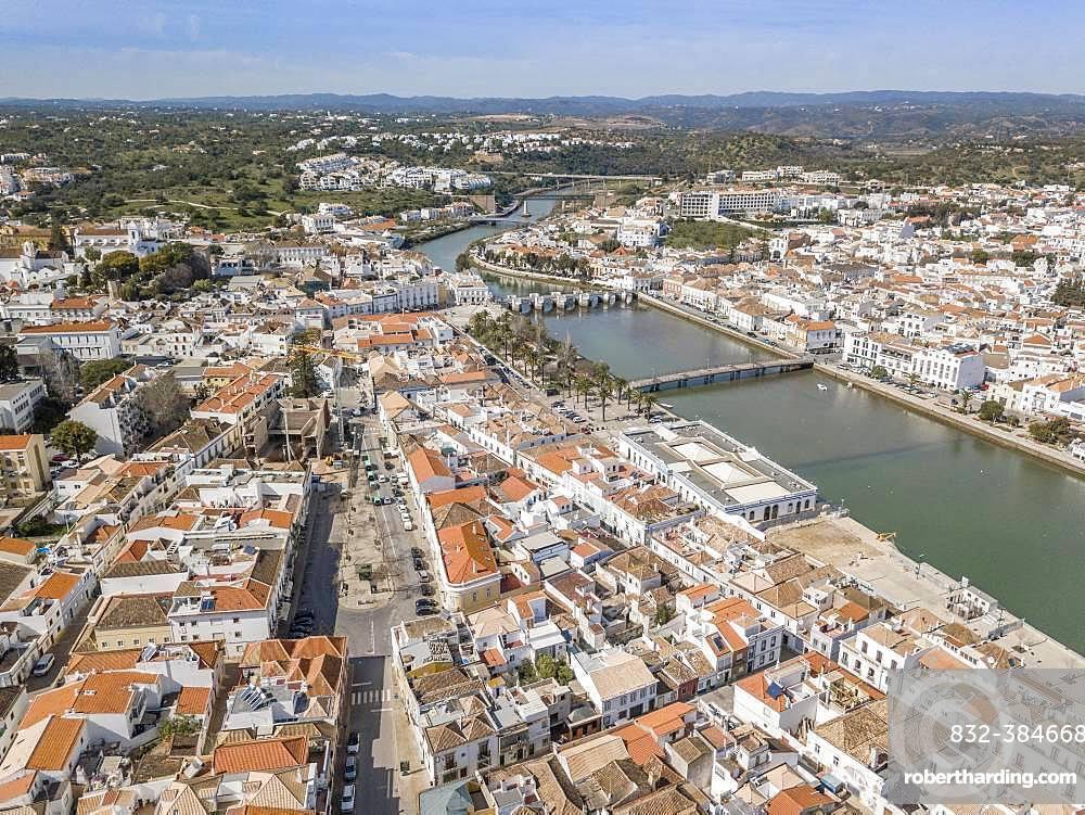Aerial view of with roman bridge, Tavira, Algarve, Portugal, Europe