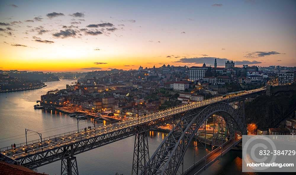 View over Porto with river Rio Douro and bridge Ponte Dom Luis I, Sunset, Porto, Portugal, Europe