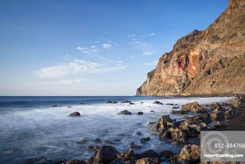 Black rocky beach, Playa del Ingles, Valle Gran Rey, La Gomera, Canary Islands, Spain, Europe