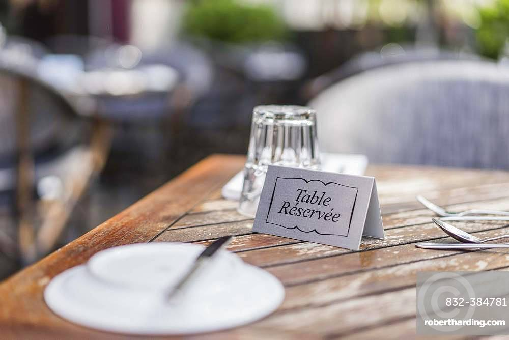 Reserved table set in the restaurant, Germany, Europe